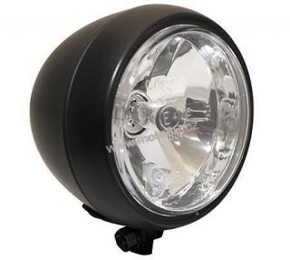 main headlight with front position light, black metal housing, 12V 35/35W HS1, E-mark, bottom mount.