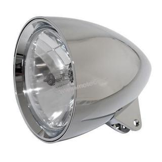 "HIGHSIDER headlamp CLASSIC 1, 5 3/4 "" H4 12 V 60/55W, chrome plated alu housing, diamond cut reflector,  with parking light, bottom mount, E-mark"