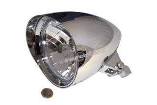 "HIGHSIDER headlamp CLASSIC 1 with visor, 5 3/4 "" H4 12 V 60/55W, chrome plated alu housing, diamond cut reflector,  with parking light, bottom mount, E-mark"