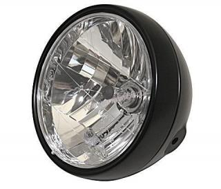 headlamp, 6 1/2 inch, side mounting, dull black metal housing, with front position light, E-mark.