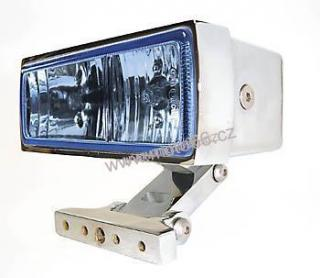Chromed housing, square, with dual fog and driving light, blue lens, 2 x H3 55W, e-mark,