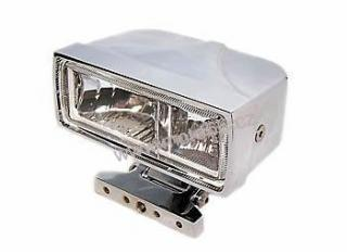 Chrmed housing, square, with dual fog light and high beam, clear lens, 2 x H3 55W, E-E-mark
